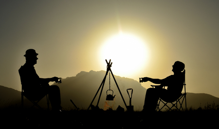 camping chats and relaxing concept