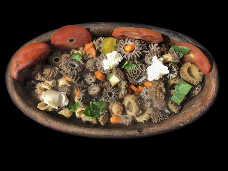 morel mushroom private camping food Stok Fotoğraf
