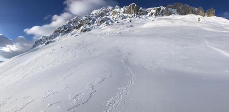 high mountains views, winter season and white texture