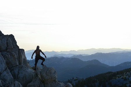 Peaks of the mountain range, climbing adventure and spectacular views of the mountains Stok Fotoğraf