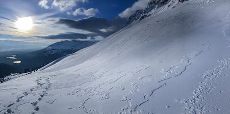 sunrise,high mountains views, winter season and white texture