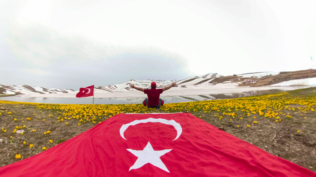 Turkish flag lovers and explorer man's trips Stock Photo
