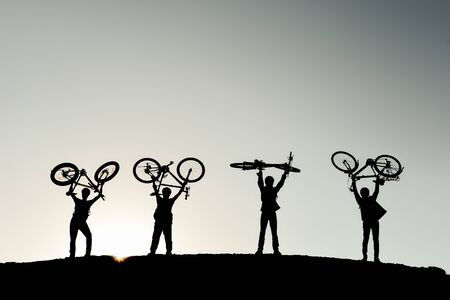 successful cyclists community and sporting adventures Stock Photo