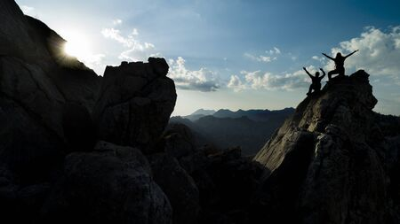 spectacular mountain ranges, pointed cliffs and the happiness of successful people