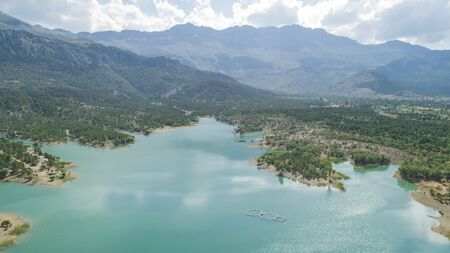 snow waters from the mountains, great dam, spectacular scenic landscapes
