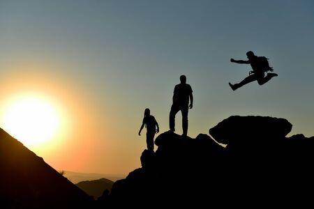 the joy of peak success, enthusiastic team and goal setting