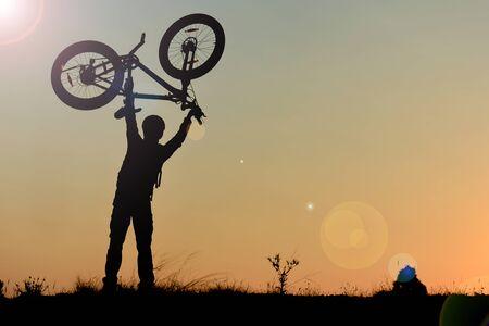 peak passion of a successful mountain biker