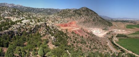 quarry mining site, pollution of environment and nature