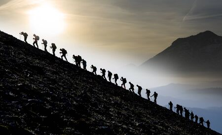 mountaineering activity, different people of the same opinion, sporting together and spirit of togetherness