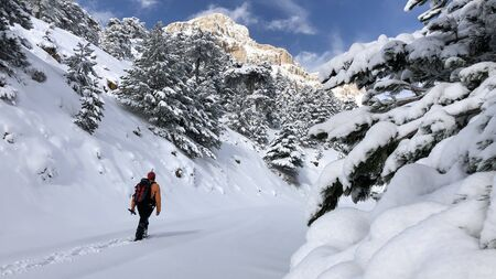 an image of a mans diary of an excursion, hiking and adventure in the snowy mountains Banco de Imagens