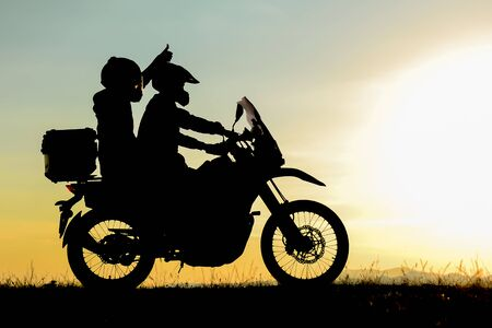 The background of friends traveling to see different geographies by motorcycle