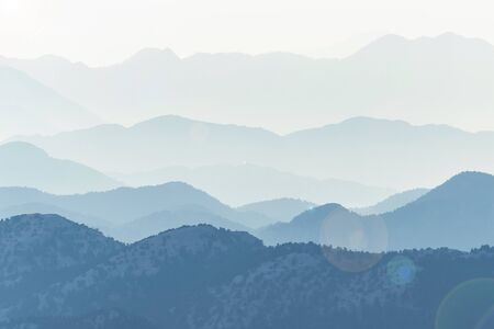 awesome mountain ranges, layers and successive mountains in Antalya Banco de Imagens