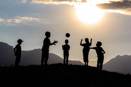 The games that cheerful, happy and healthy children play in harmony and together