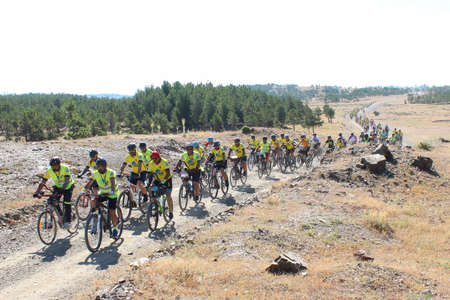 sportive activities of crowded and compatible cyclist group / Konya / Seydisehir / 09.07.2020 Editorial