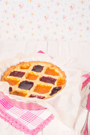 Rustic crostata, an Italian baked tart with 3 type of marmalade