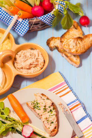 Open sandwich with roasted bread ciabatta and herring cream cheese Stock Photo
