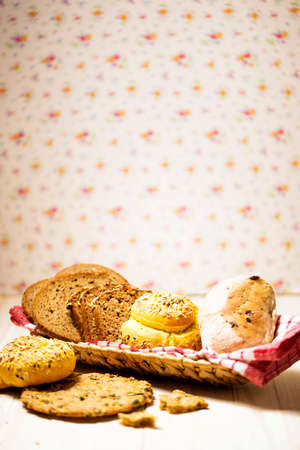Canister wit bread. 5 types of bakery food Stock Photo