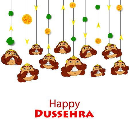 Happy Dussehra festival celebration background with smiling funny face of Demon Ravana with his ten heads on ornament wooden effect background.can be used greeting cards design.
