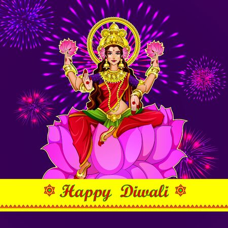 Illustration,Poster Or Banner Design For Indian Festival Of Dhanteras With Beautiful Goddess Maa Laxmi Take Shiny Golden Coin Pot On Decorated Background.Happy Diwali Holliday Of India. Ilustrace