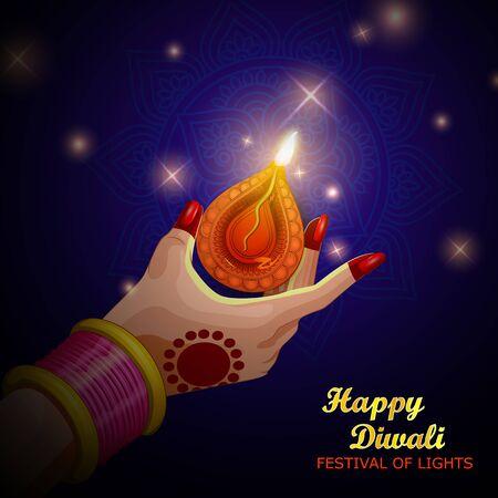 Illustration of lady holding burning Diya on Diwali Holiday background