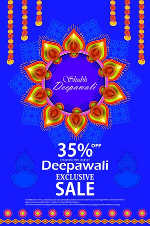 Diwali ( Indian Festival of Lights ) Sale floral background design with an attractive 35% Discount offers and Coupon code to grab offer.