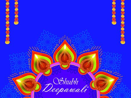 Illustration of burning diya on Shubh Deepawali Holiday background for light festival of India Stok Fotoğraf - 132223892
