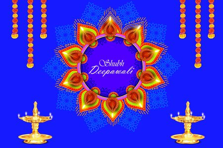 Illustration of burning diya on Shubh Deepawali Holiday background for light festival of India Stok Fotoğraf - 132223896