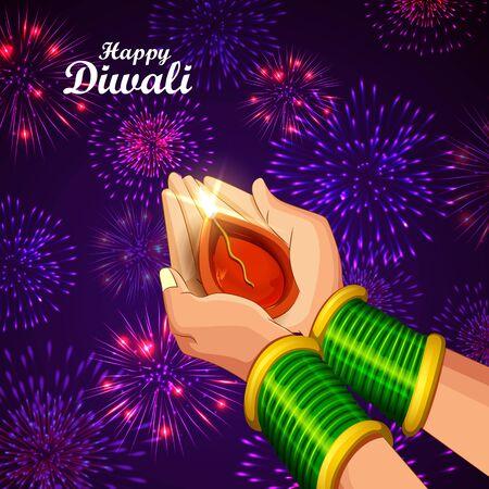 Illustration of lady holding burning Diya on Diwali Holiday background Stok Fotoğraf - 132223899
