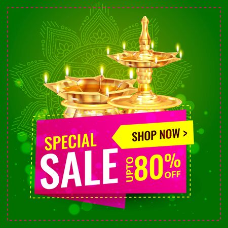 Diwali Festival Sale, Sticker, fire cracker and line art based Traditional floral burning lamp , Bumper Dhamaka Offer, Biggest Sale - Vector Illustration Usable for Poster, Banner ,Flyer