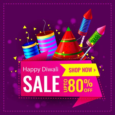 Diwali Festival Sale, Sticker, fire cracker and line art based Traditional floral burning lamp , Bumper Dhamaka Offer, Biggest Sale - Vector Illustration Usable for Poster, Banner ,Flyer Illustration