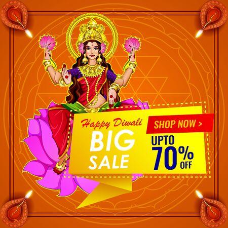 Diwali Festival Sale, Sticker, fire cracker and line art based Traditional floral burning lamp , Bumper Dhamaka Offer, Biggest Sale - Vector Illustration Usable for Poster, Banner ,Flyer Ilustrace