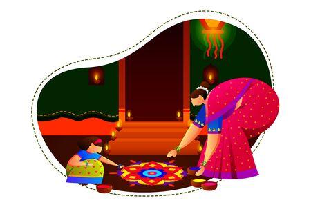 Indian family people celebrating Diwali festival of India in vector Illustration