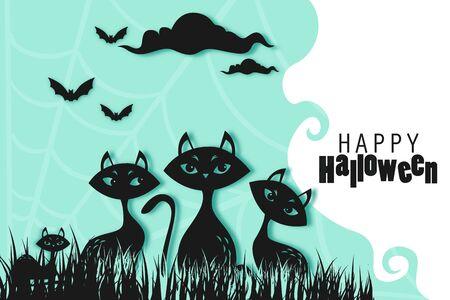 Happy Halloween paper cut Background, Vector Illustration halloween Paper cut Design. Ilustracja