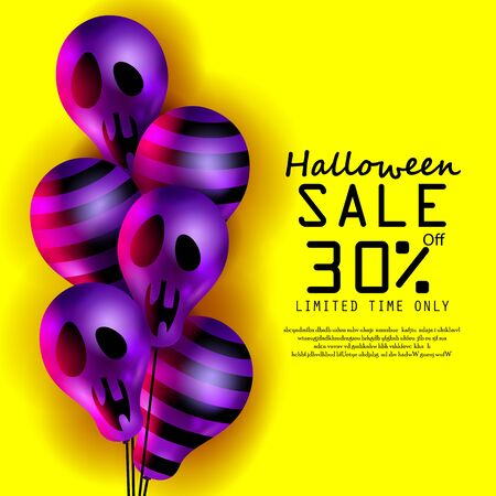 Halloween purple color Ghost Balloons.Scary air balloons and