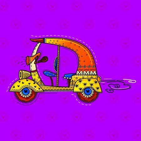 vector design of desi (indian) art style auto rickshaw. Vetores
