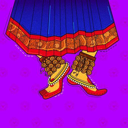 vector design of desi (indian) art style classical feet with ghungroo. 版權商用圖片 - 136843624