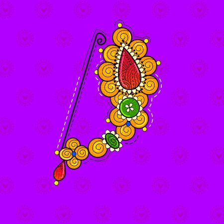 vector design of desi (indian) art style Maharashtrian nose pin.