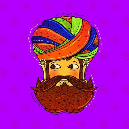 conception vectorielle de l'homme du rajasthani de style art desi (indien) avec barbe.