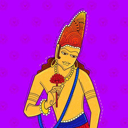 illustration of desi (indian) art style padmpani ajanta cave painting.
