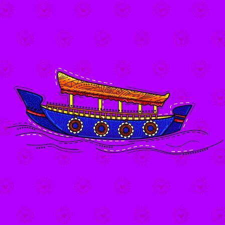 illustration of desi (indian) art style shikara boat. Vettoriali