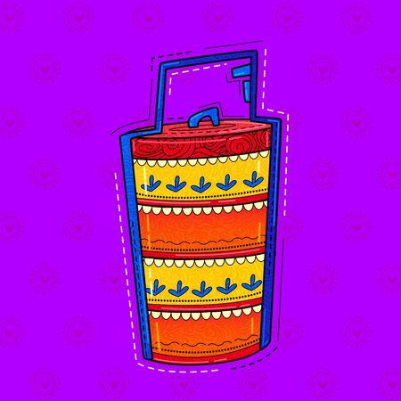 illustration of desi (india) art style tiffin carrier.