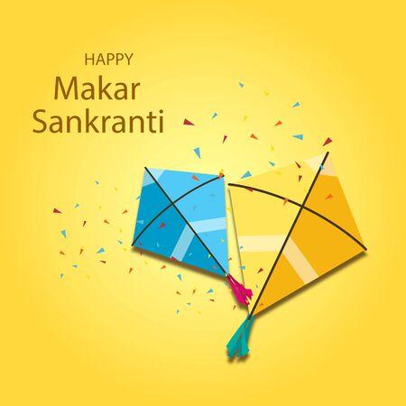 illustration of Happy Makar Sankranti wallpaper with colorful kite string for festival of India Vetores