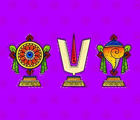 illustration of desi (indian) art style lord balaji symbol.