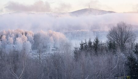 Frosty winter dawn in the Bieszczady Mountains