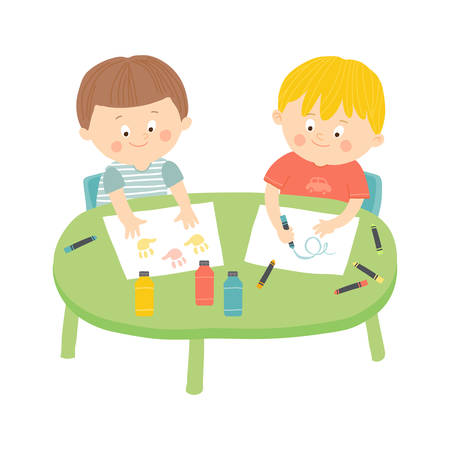 Children drawing in art class. Illustration