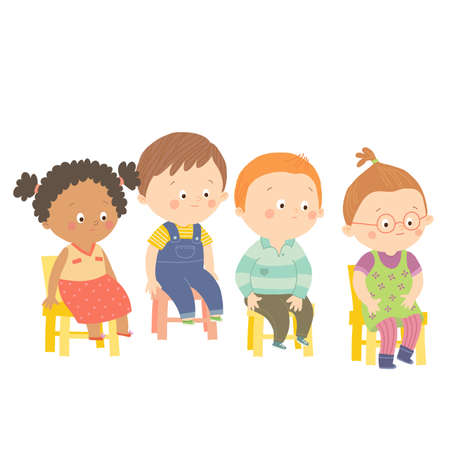child sitting: Perplex preschool children sitting on chairs. Stock Photo