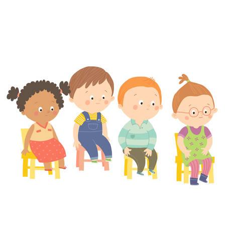 Perplex preschool children sitting on chairs.