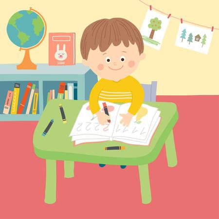 Enfant mignon dans la salle de classe de l'école assis au bureau et à l'écriture. Vecteurs