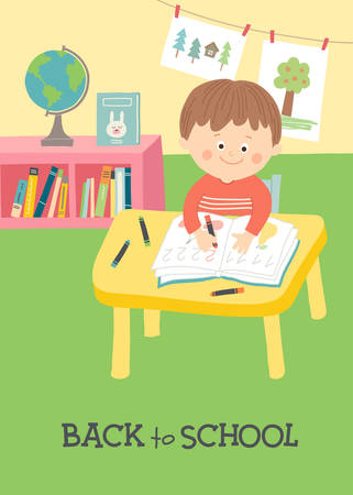 Back to school card, poster design. Cute boy writing at desk in classroom