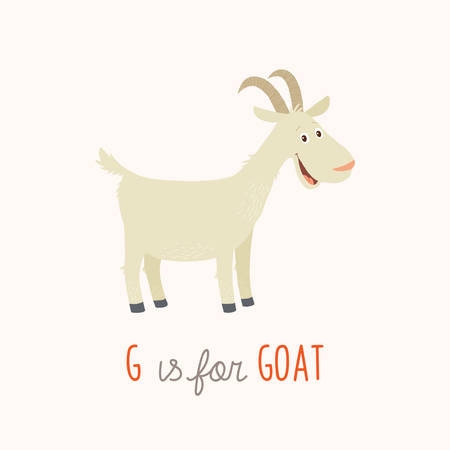 G is for goat. Vector clipart eps 10 hand drawn illustration isolated on .